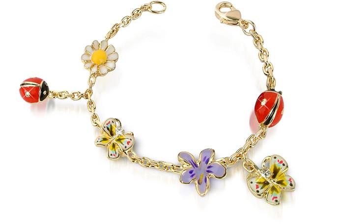 Garden Line - Armband mit vergoldeten Anhängern aus Emaille - AZ Collection