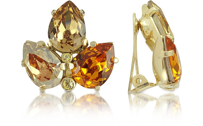 Amber Crystal Clip-On Earrings - AZ Collection