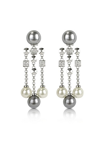 Glass Pearl Drops Clip On Earrings - AZ Collection