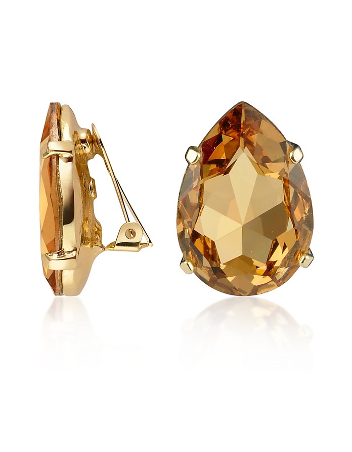 Amber Tear-Drop Clip-On Earrings - AZ Collection