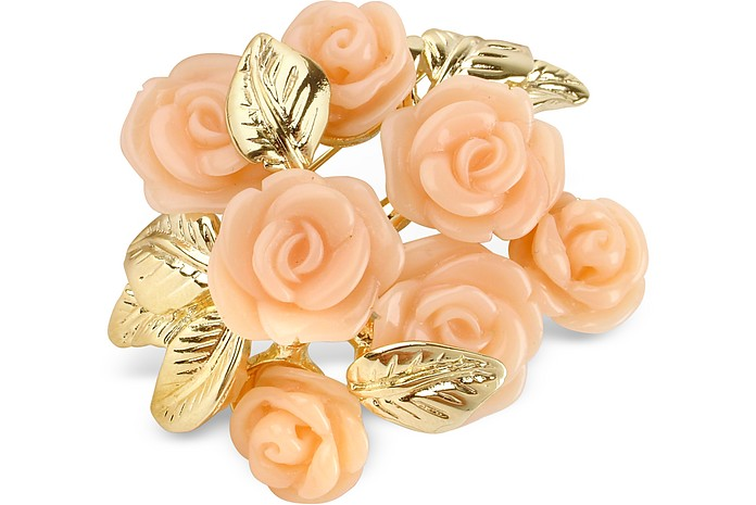 Broche Rosas Chapado Oro - AZ Collection