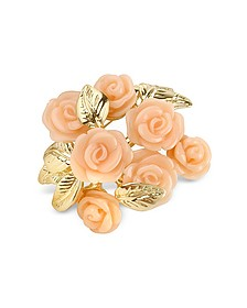 Pink Roses Gold Plated Brooch - AZ Collection