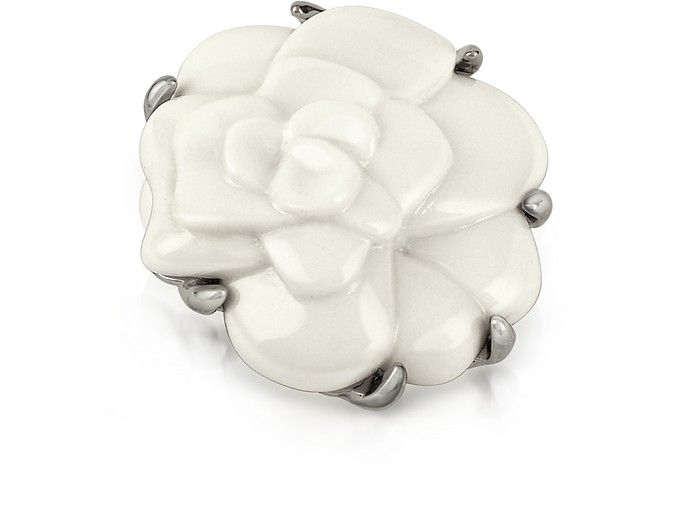 Broche camélia blanc - AZ Collection