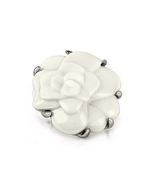 White Camelia Flower Brooch - AZ Collection
