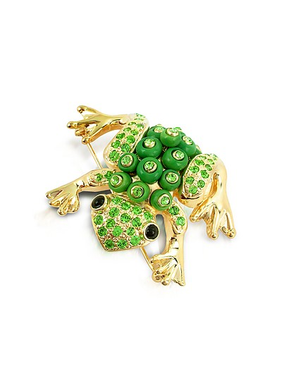 Green Frog Brooch  - AZ Collection