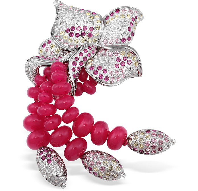 Beaded Flower Brooch - AZ Collection