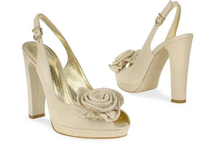 Sand Leather Flower Slingback Sandal Shoes - Mario Bologna