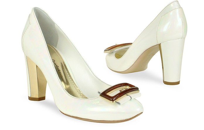 Opalescent White Patent Leather Pump Shoes - Mario Bologna