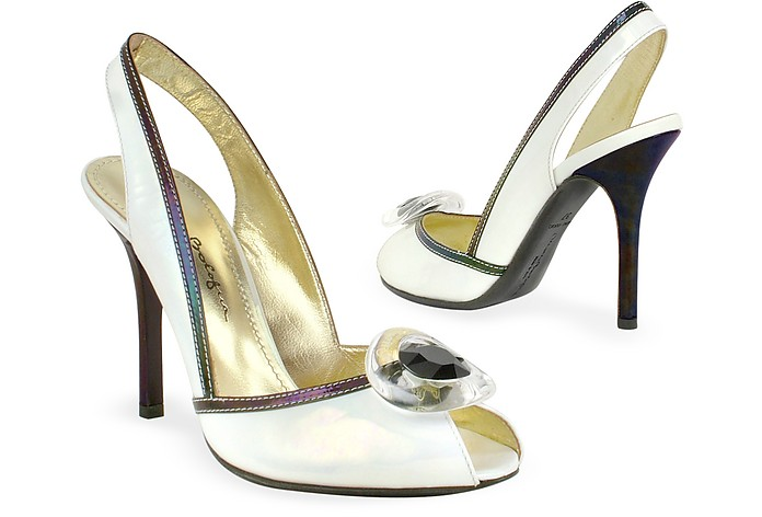 Opalescent White Patent Leather Sandal Shoes - Mario Bologna