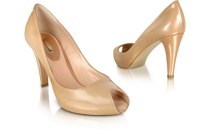 Sand Patent Leather Peep-Toe Pump Shoes - Mario Bologna