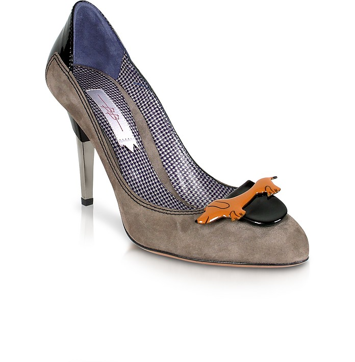 Dachshund Taupe Suede Pump Shoes - Mario Bologna