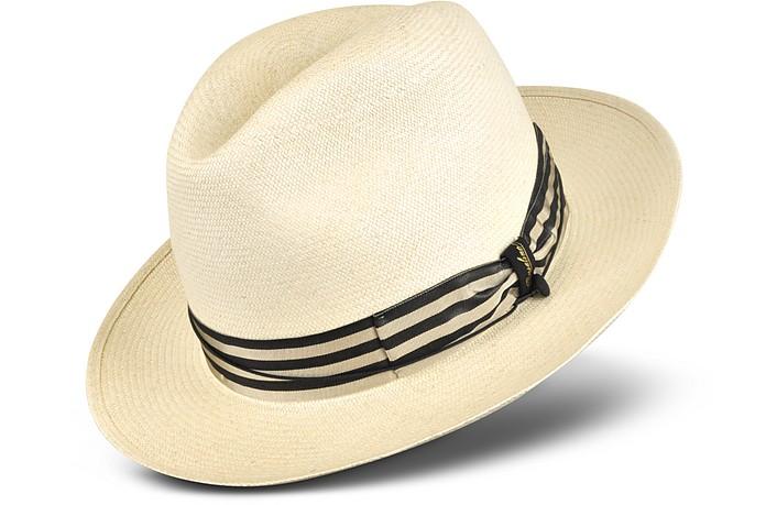 Vero Cappello Panama con Banda a Righe Beige e Blu Borsalino Circ ... 0c7aeaa78d5b