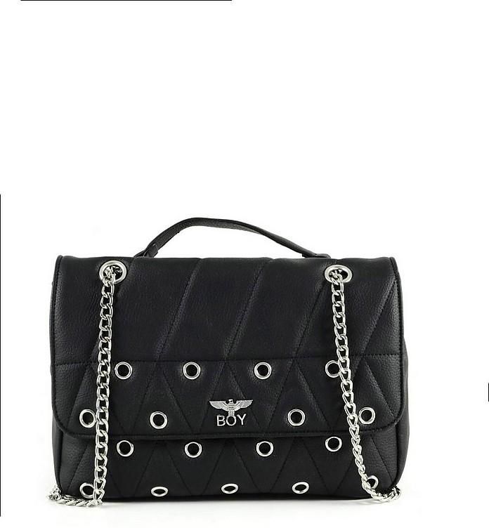 Black Synthetic W/Grommets Leather Shoulder Bag - BOY London