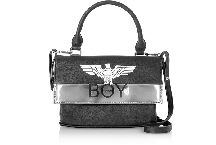 Black & Silver Synthetic Leather Top Handle Bag - BOY London
