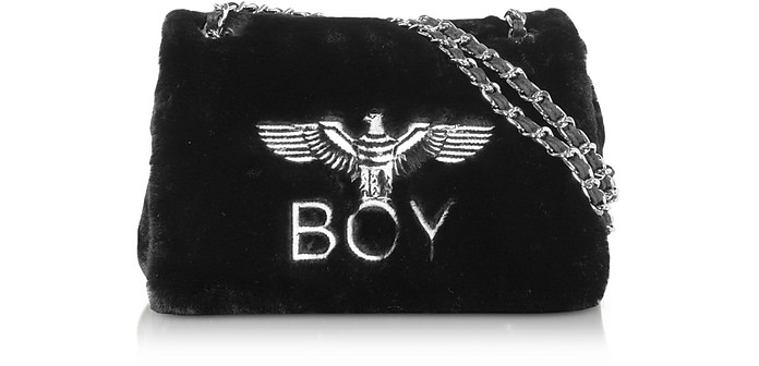 Black Plush Synthetic Shoulder Bag - BOY London
