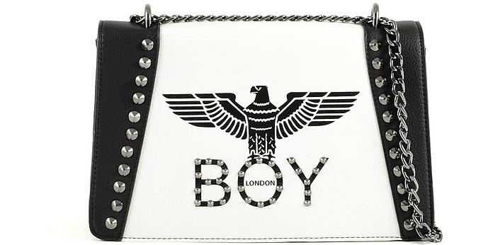 Borsa Black & White con Logo, Borchie e Tracolla - BOY London