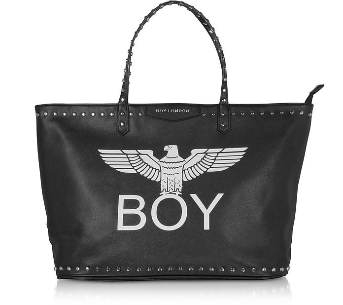 Shopper Nera con Logo e Borchie - BOY London