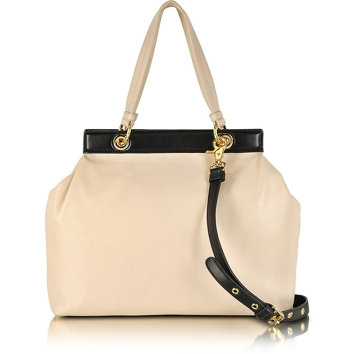 Lisbeth Bi-Color Leather Satchel - Badgley Mischka
