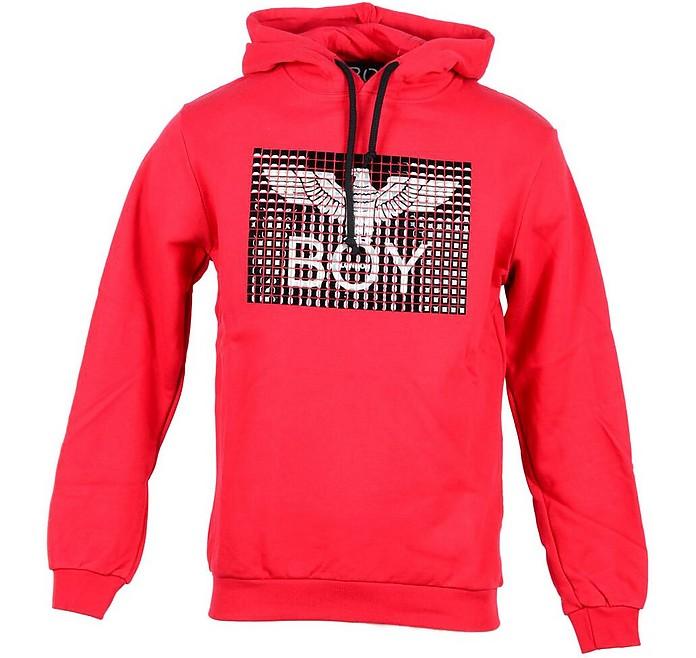 Red Cotton Hooded Men's Sweater w/Studs - BOY London