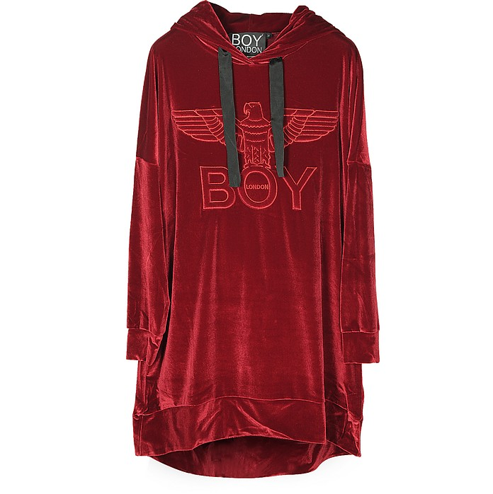 Ruby Red Eagle Chenille Hooded Long Dress - BOY London