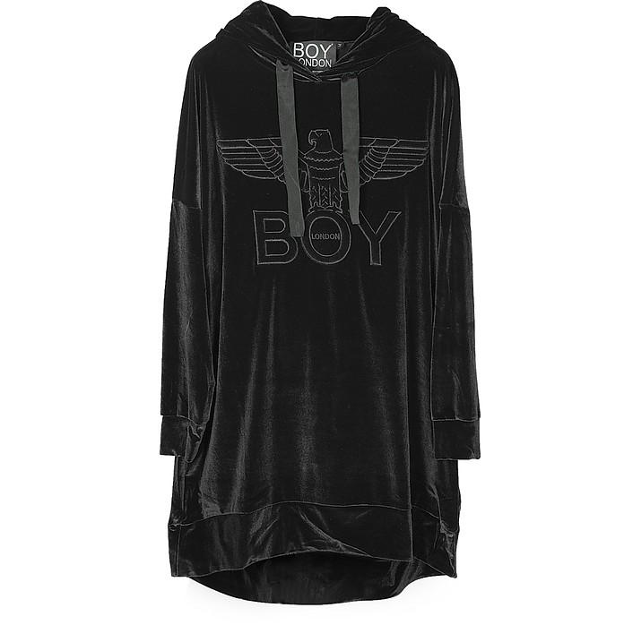 Black Chenille Eagle Hooded Long Dress - BOY London