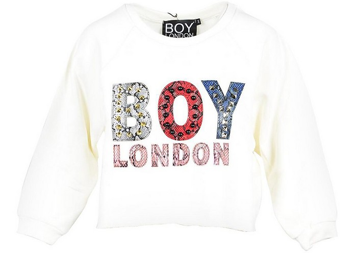 Off White Cotton Cropped Women's Sweater - BOY London