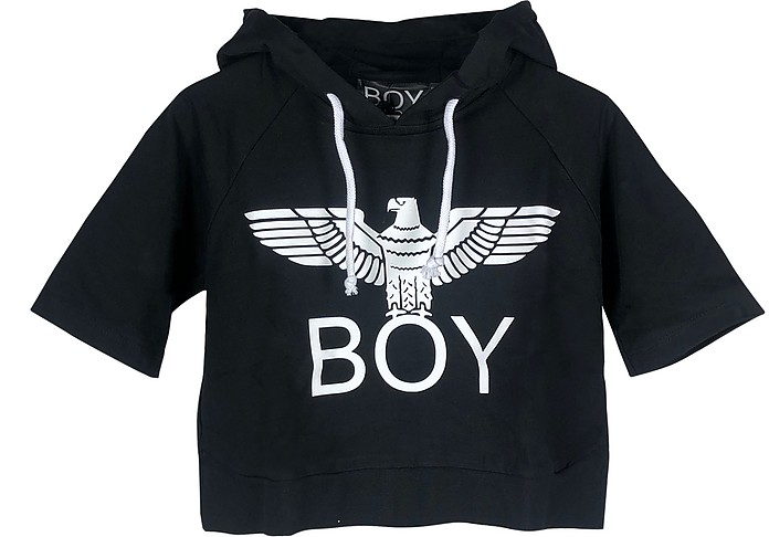 Black Signature Cropped Hoodie - BOY London