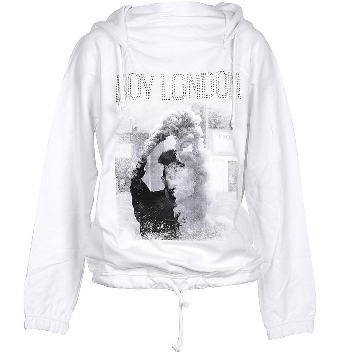 White Printed Cotton Signature Hoodie - BOY London