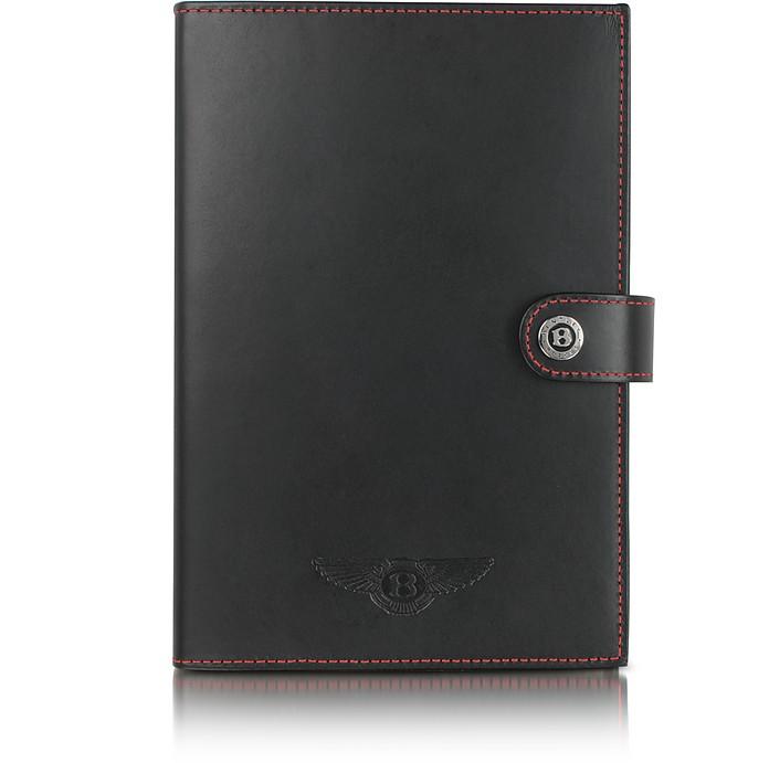 Ettinger Large Black Leather Notebook - Bentley