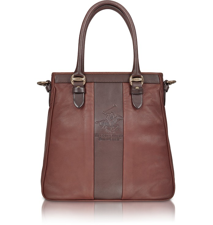 3c1f2ccc5db2 Beverly Hills Polo Club Two-tone Brown Logo Leather Tote Bag at ...