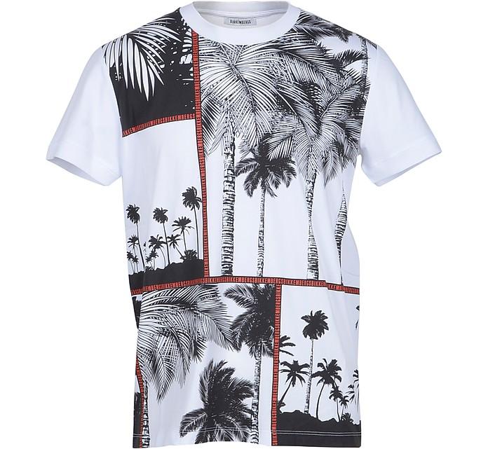 Palm Print White Cotton Men's T-Shirt - Bikkembergs