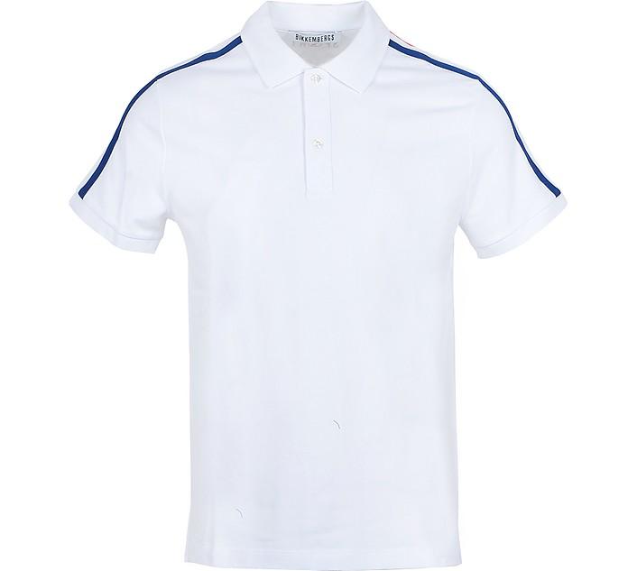 White Piqué Cotton Men's Polo Shirt - Bikkembergs