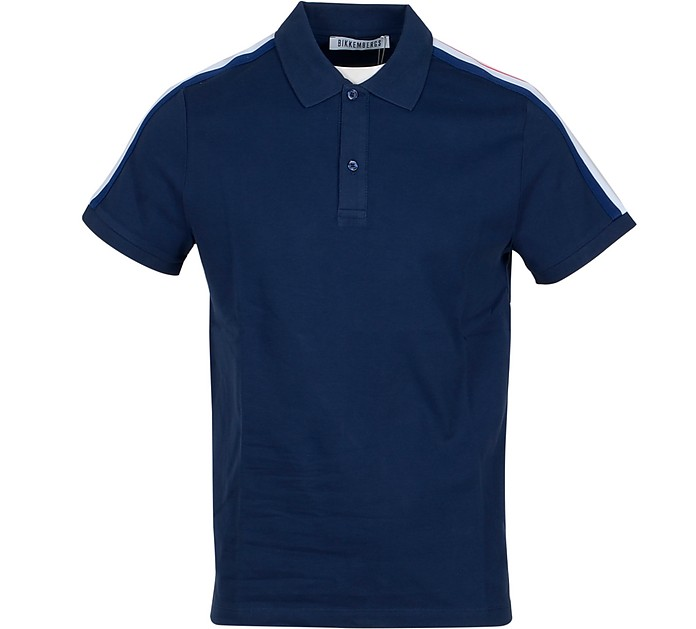 Dark Blue Piqué Cotton Men's Polo Shirt - Bikkembergs