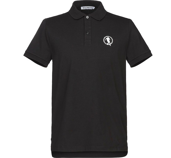 Black Piqué Cotton Men's Polo Shirt - Bikkembergs