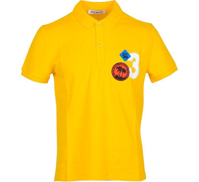 Bright Yellow Piqué Cotton Men's Polo Shirt - Bikkembergs