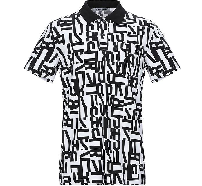 Optical Signature Black & White Cotton Men's Polo Shirt - Bikkembergs