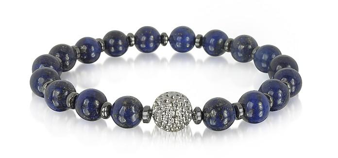 Lapis Lazuli Small Stone Men's Bracelet w/Brass Golf Ball - Blackbourne
