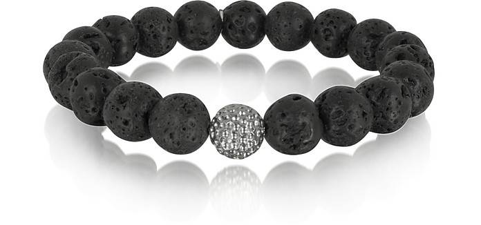 Lava Stone Men's Bracelet w/Brass Golf Ball - Blackbourne / ブラックボーン