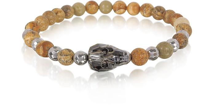 Rock Irregular Stone Men's Bracelet w/Gunmetal Swarovski Crystal Skull - Blackbourne