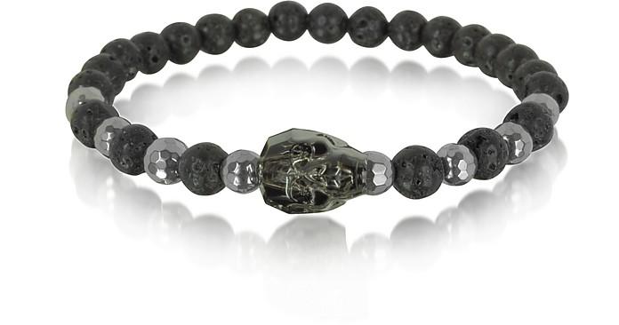 Lava Irregular Stone Men's Bracelet w/Gunmetal Swarovski Crystal Skull