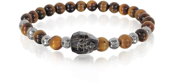 Brown Tigers Eye Irregular Stone Men's Bracelet w/Gunmetal Swarovski Crystal Skull - Blackbourne