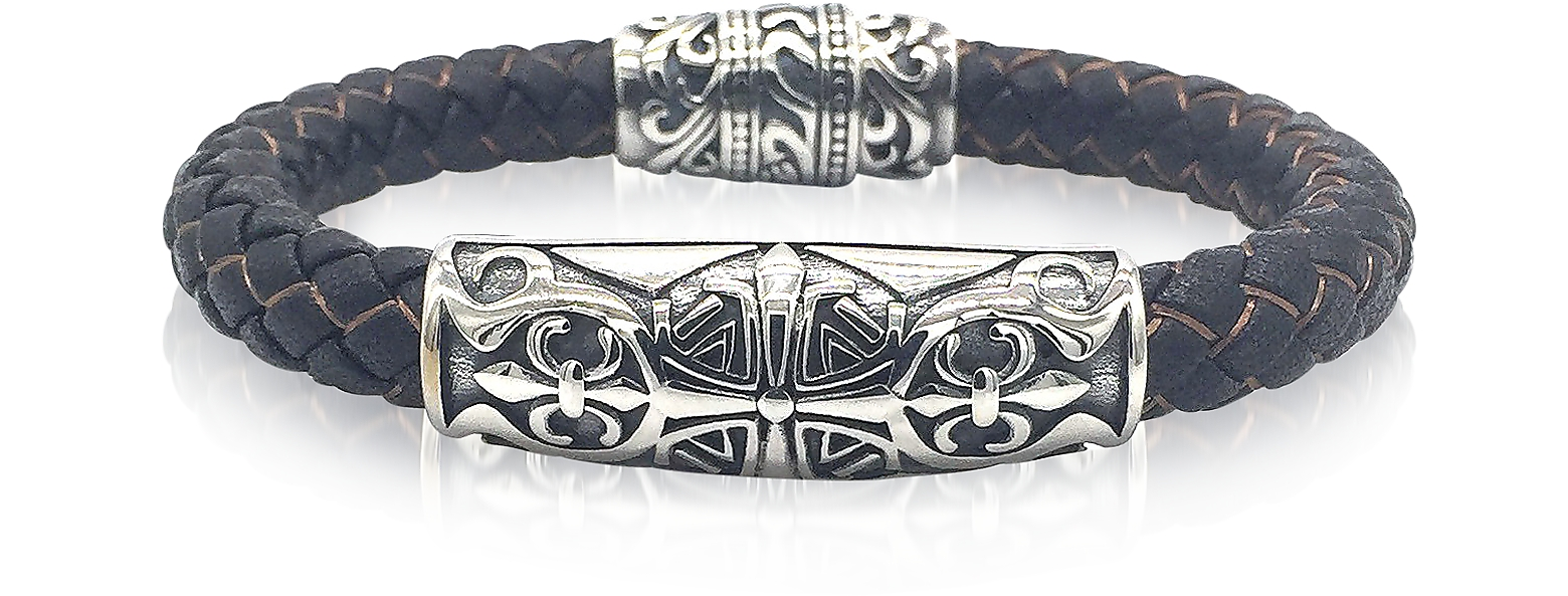 Engraved Stainless Steel and Braided Leather Men's Bracelet