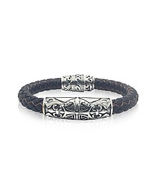 Engraved Stainless Steel and Braided Leather Men's Bracelet - Blackbourne