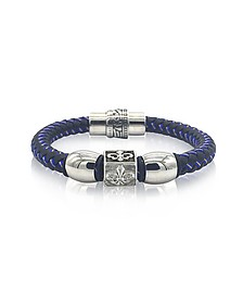 Lily Engraved Stainless Steel and Braided Leather Men's Bracelet - Blackbourne