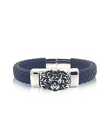 Lion Engraved Stainless Steel and Braided Leather Men's Bracelet - Blackbourne