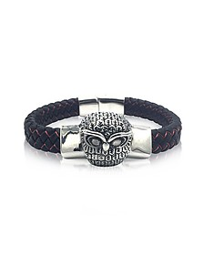 Owl Engraved Stainless Steel and Braided Leather Men's Bracelet - Blackbourne