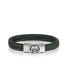 Black Woven Leather Men's bracelet w/Stainless Steel Skull