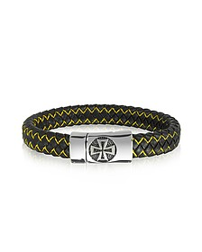 Black Woven Leather and Stainless Steel Celtic Cross Men's Bracelet
