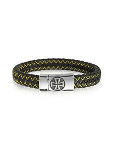 Brazelete Hombre en Acero, de Cuero Negro y Tejido Amarillo con Cruz Celta