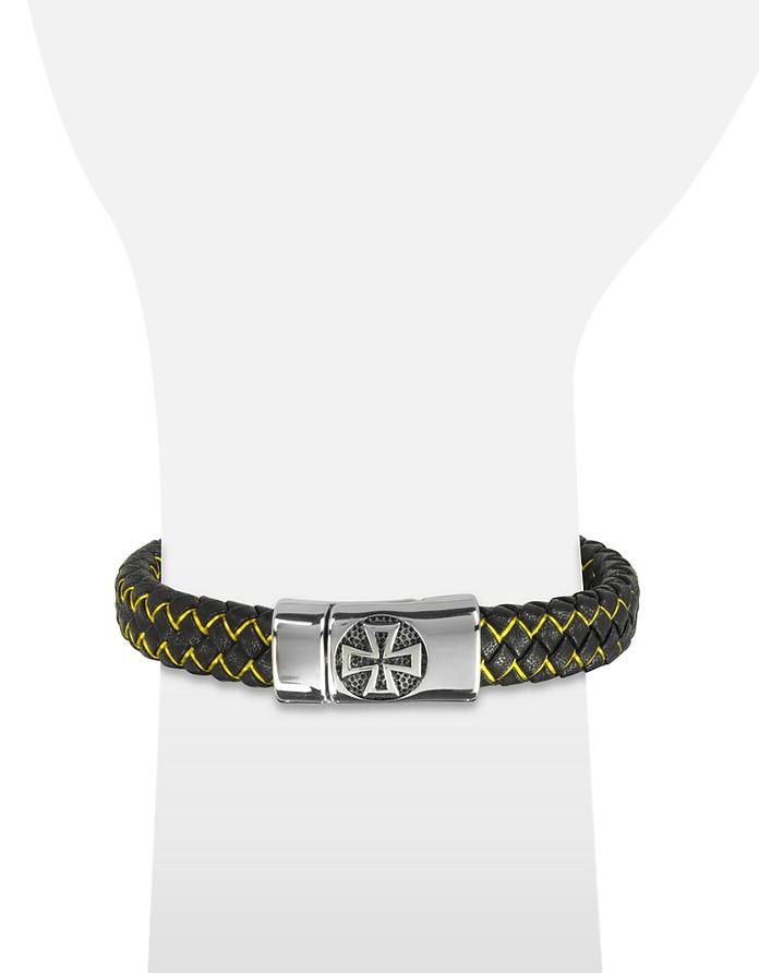 vente chaude en ligne b9cd6 2dbce Blackbourne Celtic Cross - Bracelet Homme en Cuir Tissé Noir et Logo Croix  Celtique en Acier Inoxydable